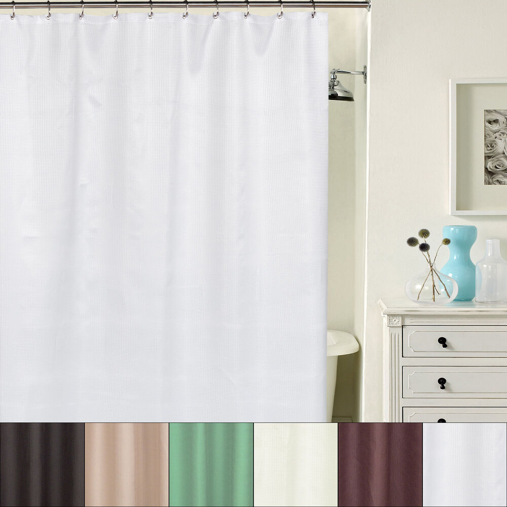 hotel quality waffle weave fabric shower curtain with metal grommets