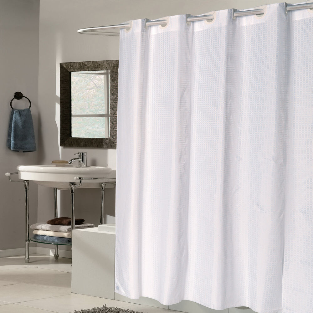 Details About EZ On White Check Fabric 70x75 Hookless Shower Curtain Liner
