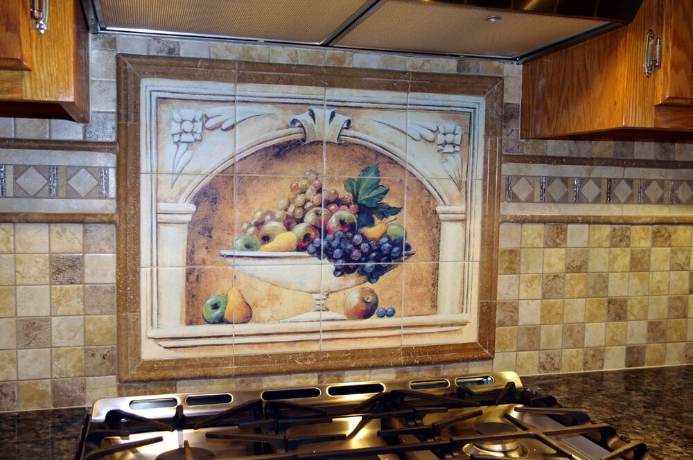 Art arch fruits vase mural ceramic backsplash bath tile for Bathroom mural tiles