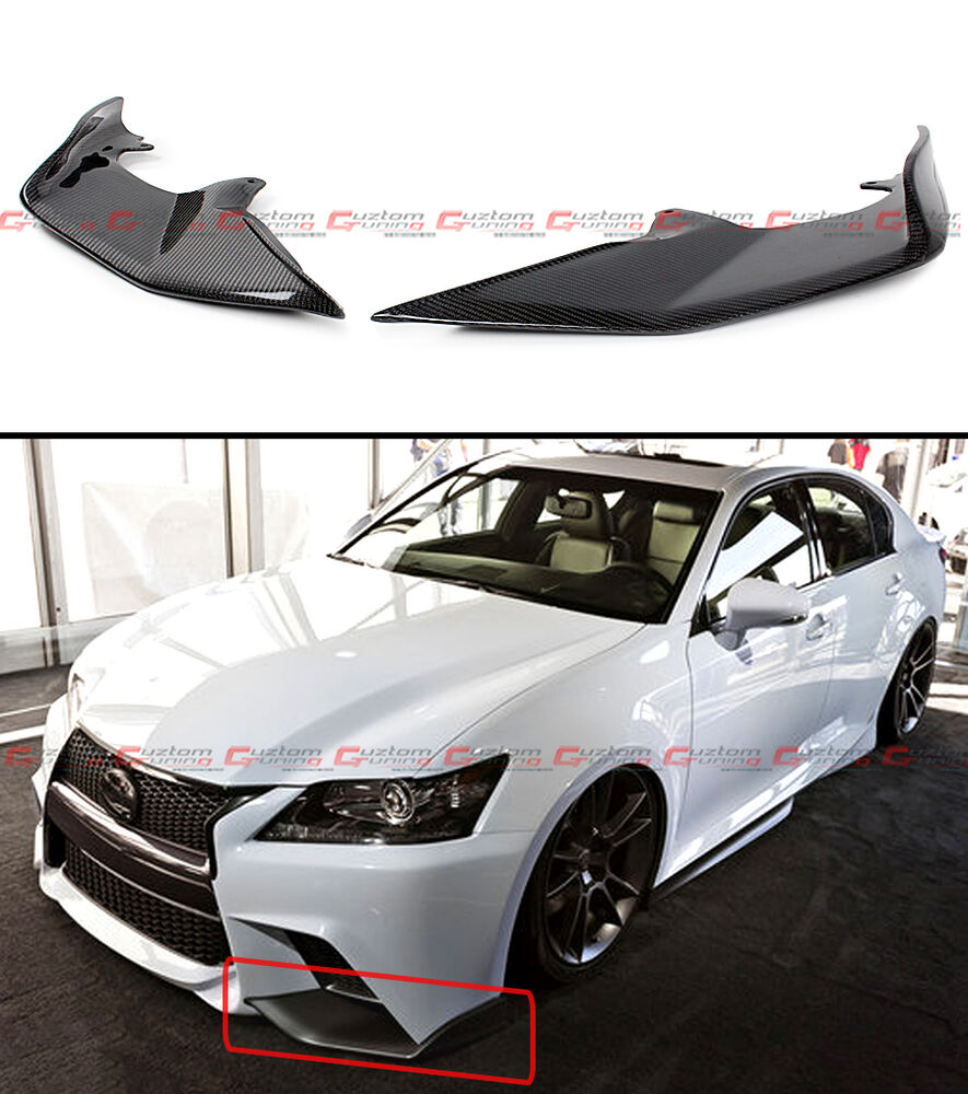 2014 Lexus Gs350: 2 PC JDM CARBON FIBER FRONT BUMPER SPLITTERS LIP FOR 2013