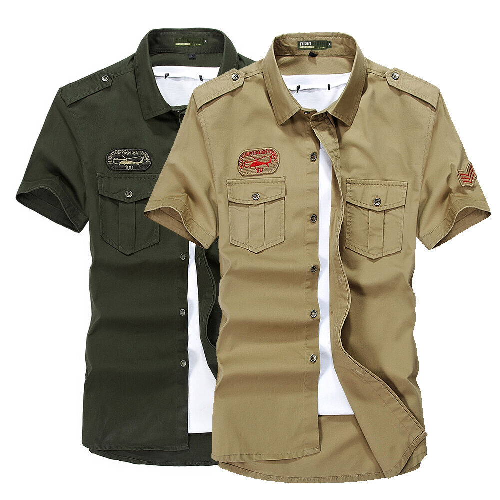 Army mens military epaulet double pocket casual short for Mens double pocket short sleeve shirts