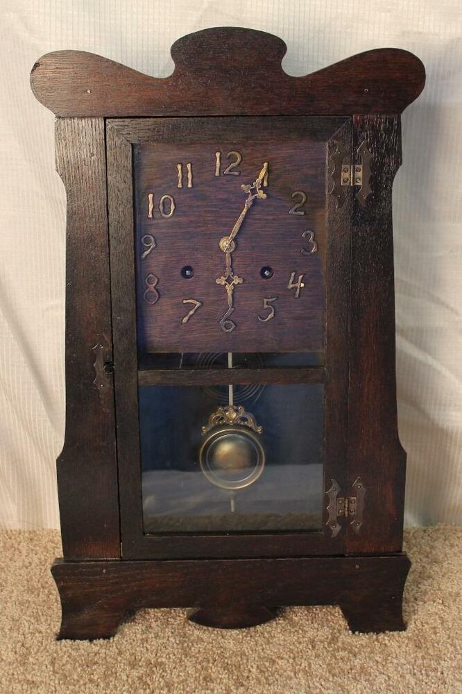 Antique new haven mission oak arts and crafts mantle for Arts and crafts mantle clock