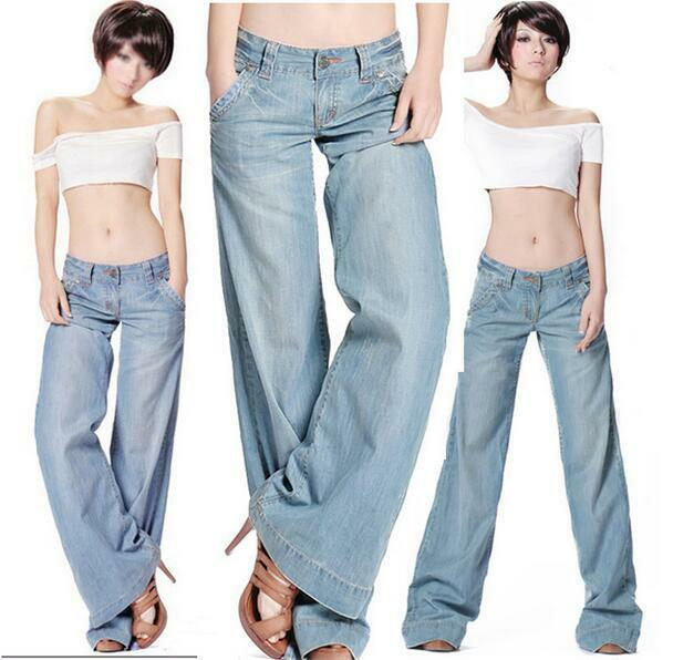Womens Sexy Demin Jeans New Bell Bottom Wide Leg Loose ...