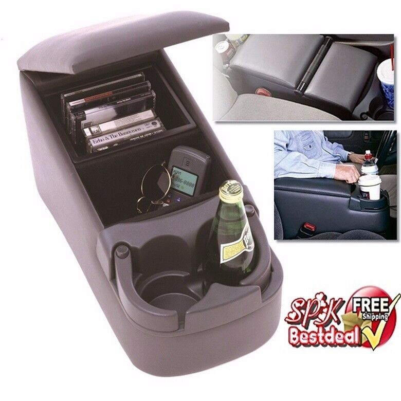 car center console bench seat universal charcoal cup holder contractor truck van ebay. Black Bedroom Furniture Sets. Home Design Ideas