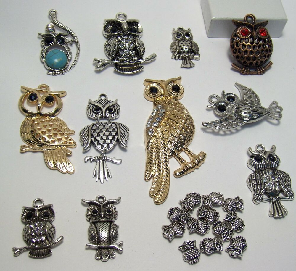 Big jewelry making supplies lot 23 items owls beads for Earring supplies for jewelry making