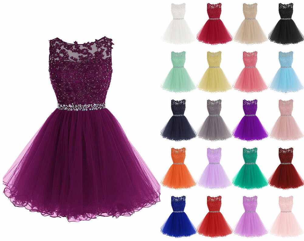Short Tulle Wedding Formal Evening Party Bridesmaid Ball Gown Prom ...