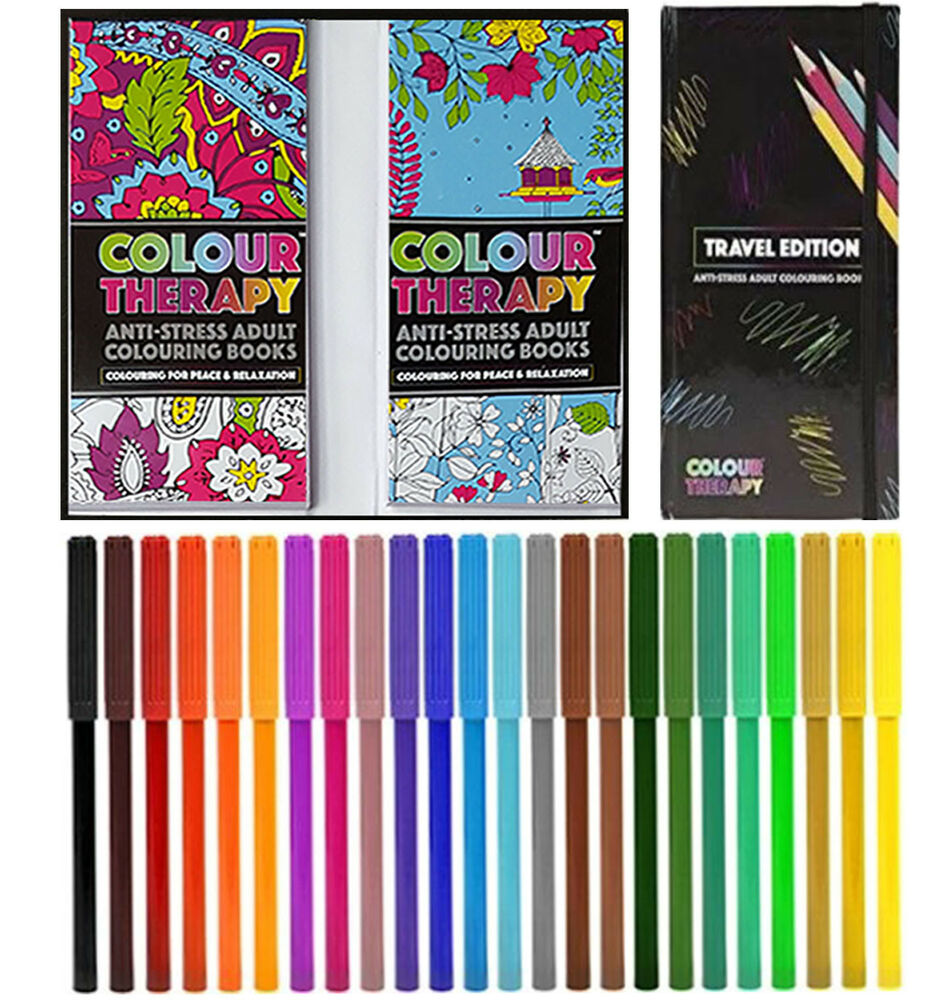 Colourtation anti stress colouring book for adults volume 1 - Anti Stress Colouring Book And Pens Colour Therapy Travel Edition Anti Stress Adult Colouring Book