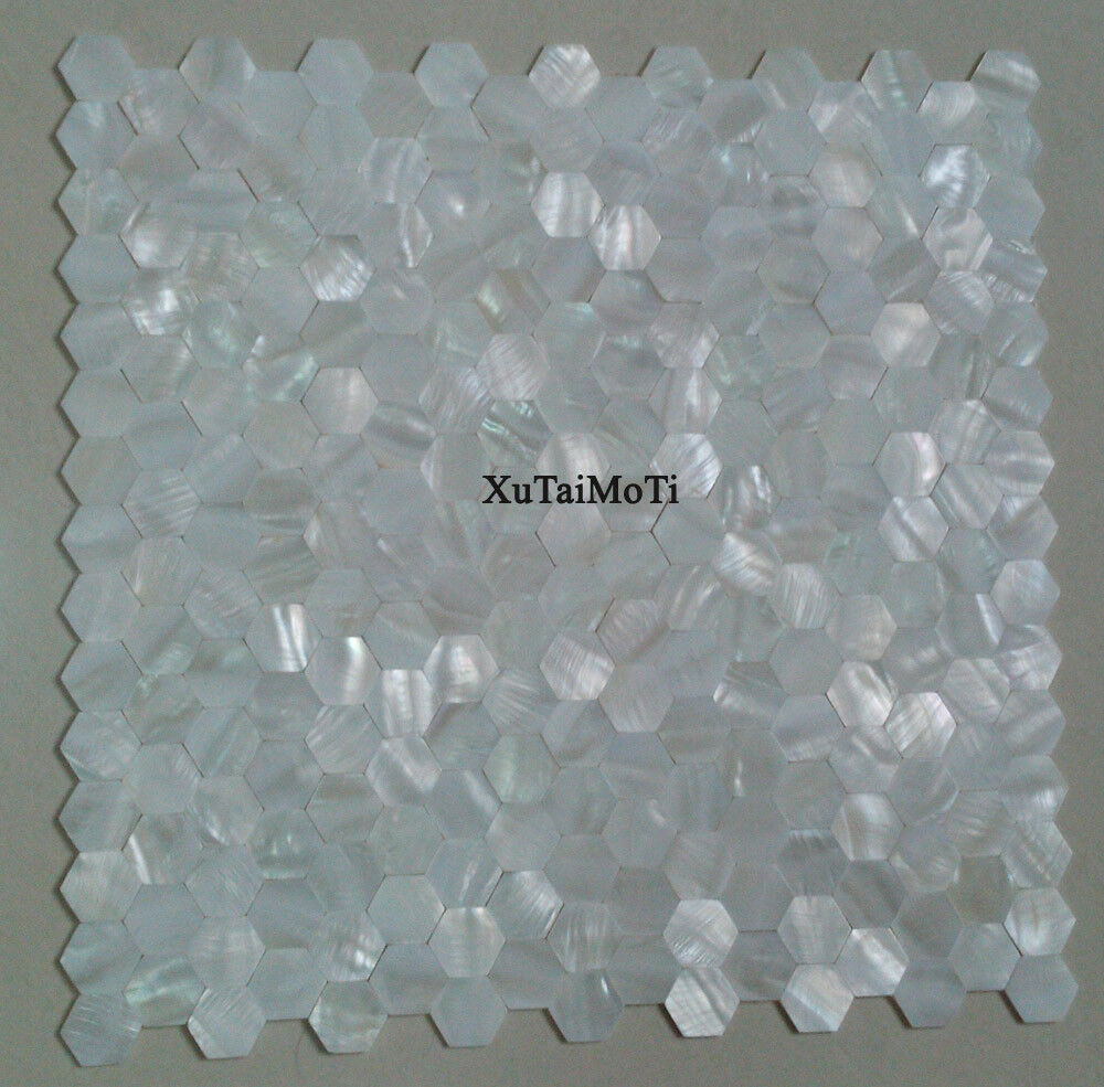 11pcs White Hexagon Shell Mosaic Mother Of Pearl Bathroom