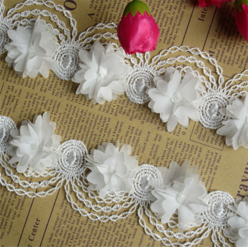 1yd Vintage Flower Lace Edge Trim Wedding Dress Ribbon