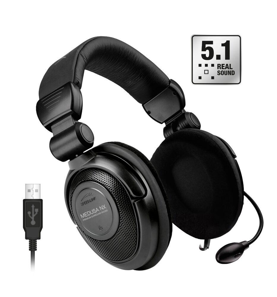 speedlink medusa nx usb 5 1 surround gaming headset. Black Bedroom Furniture Sets. Home Design Ideas