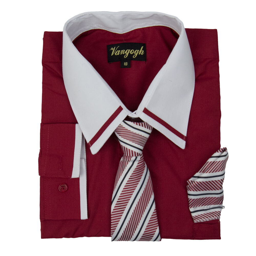 Boys red dress shirt striped white contrast long sleeve for Striped shirt with tie