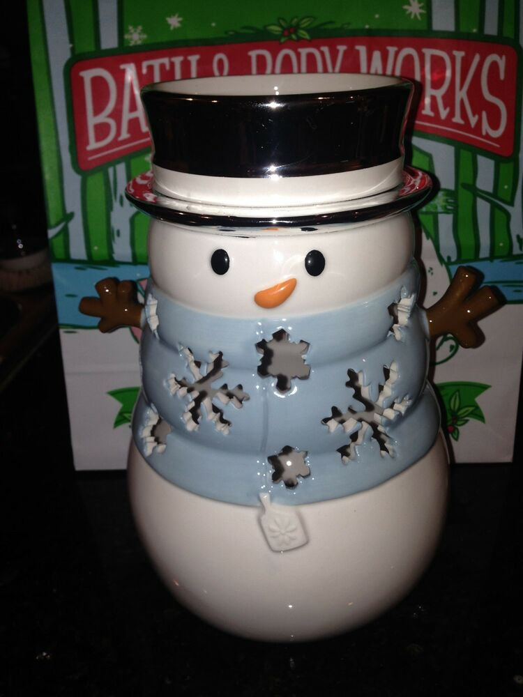 Bath And Body Works 2014 Snowman Luminary With Cut Out