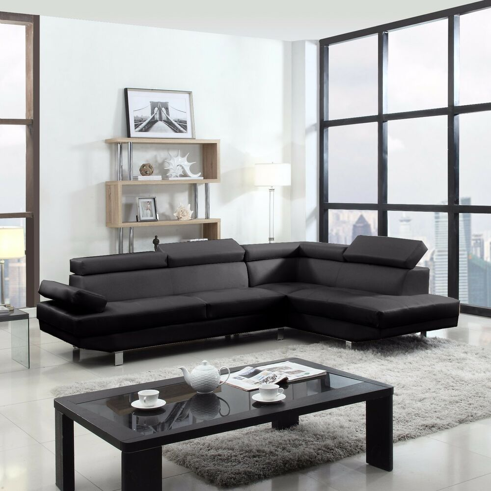 2 piece contemporary modern faux leather black sectional for Small spaces sectional sofa black faux leather