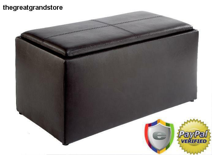 Coffee Table Ottoman Set Leather Storage Furniture Bench Reversible Lid Home Ebay