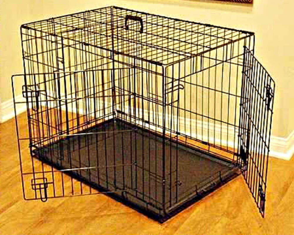 Dog kennel crate large 48quot heavy duty metal double door for Xl dog crate furniture