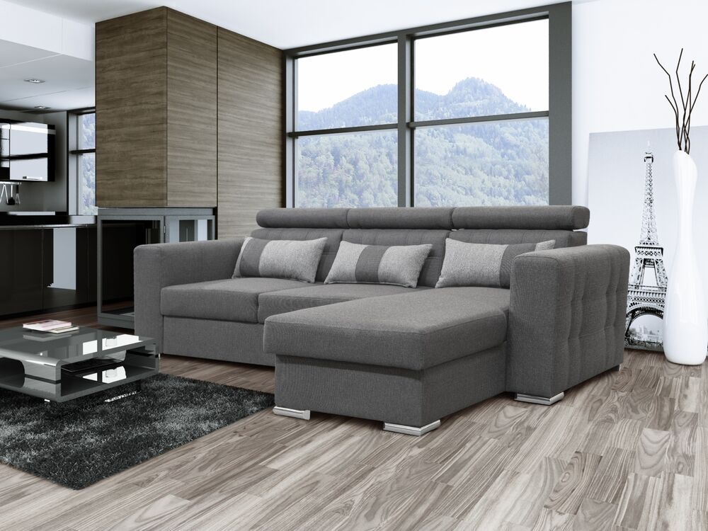 modernes ecksofa maggio mit schlaffunktion bettkasten stoff und farbauswahl ebay. Black Bedroom Furniture Sets. Home Design Ideas