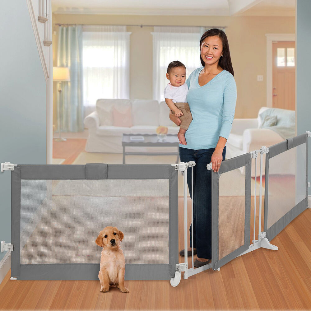 Portable Room Divider With Safety Gate Wide Opening For