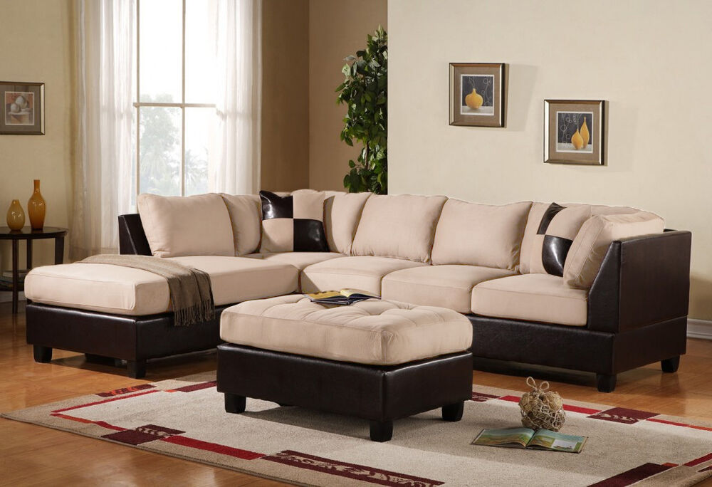3PC Sectional Sofa Microsuede Faux Leather Beige With