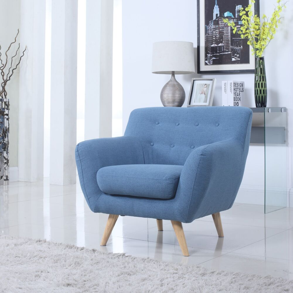 Mid century blue modern tufted button accent chair living for Side chairs for living room