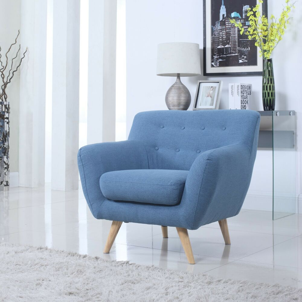 Mid century blue modern tufted button accent chair living room furniture ebay - Modern living room chair ...