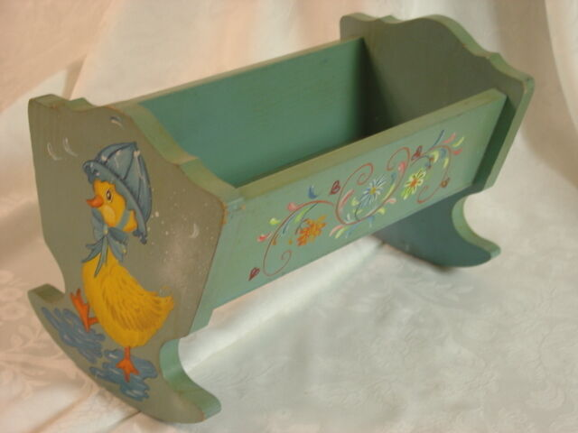 Vintage Floretta Doll Cradle Painted Wood Floral Duck Girl