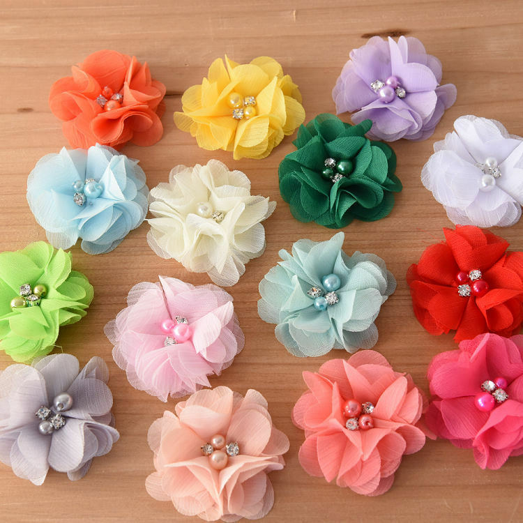 Diy chiffon fabric flower with pearls and bling rhinestone for Crafts that sell on ebay