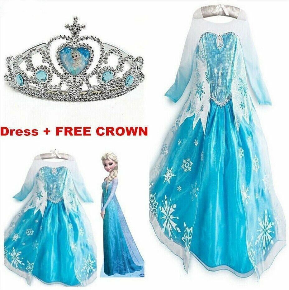Kids Girls Dresses Elsa Frozen dress costume Princess Anna party ...