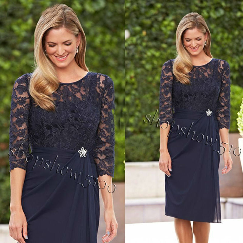 Mother Of The Bride Dresses: Navy Blue Lace Short Mother Of The Bride Dresses Formal