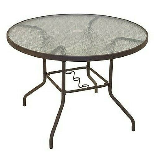 Round patio dining table glass top garden outdoor for Glass top outdoor dining table