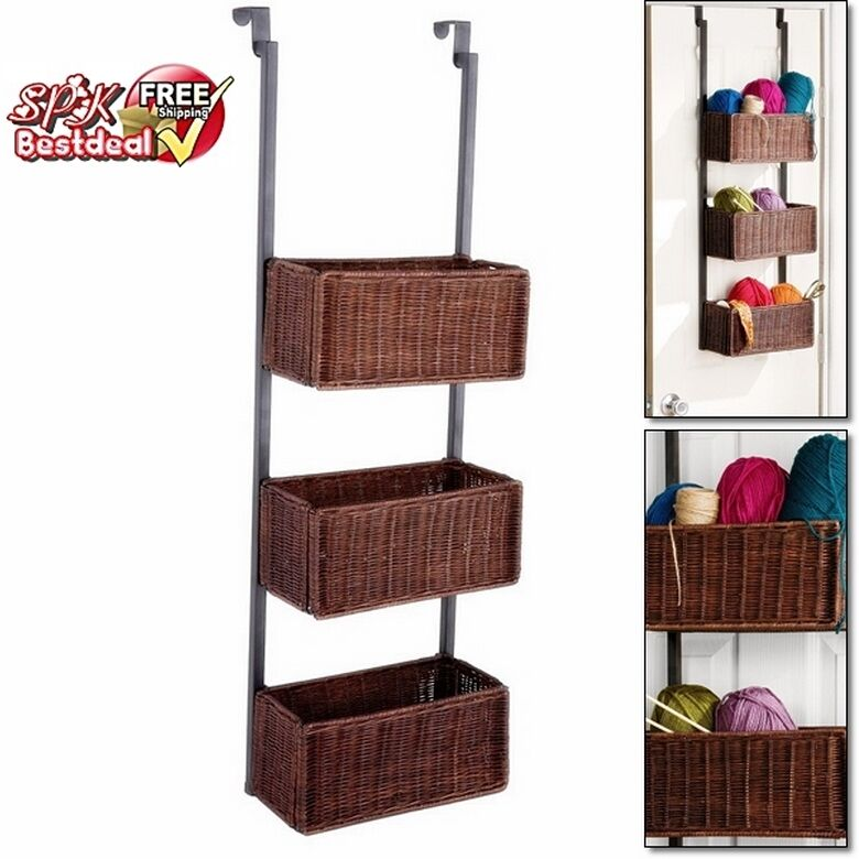 hanging storage baskets hanging wall 3 tier basket weave woven wicker storage rack 1568