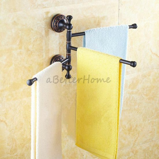 Bath Towel Rack Hanger Wall Mount Oil Rubbed Bronze Swivel Towel Rail Holder Ebay