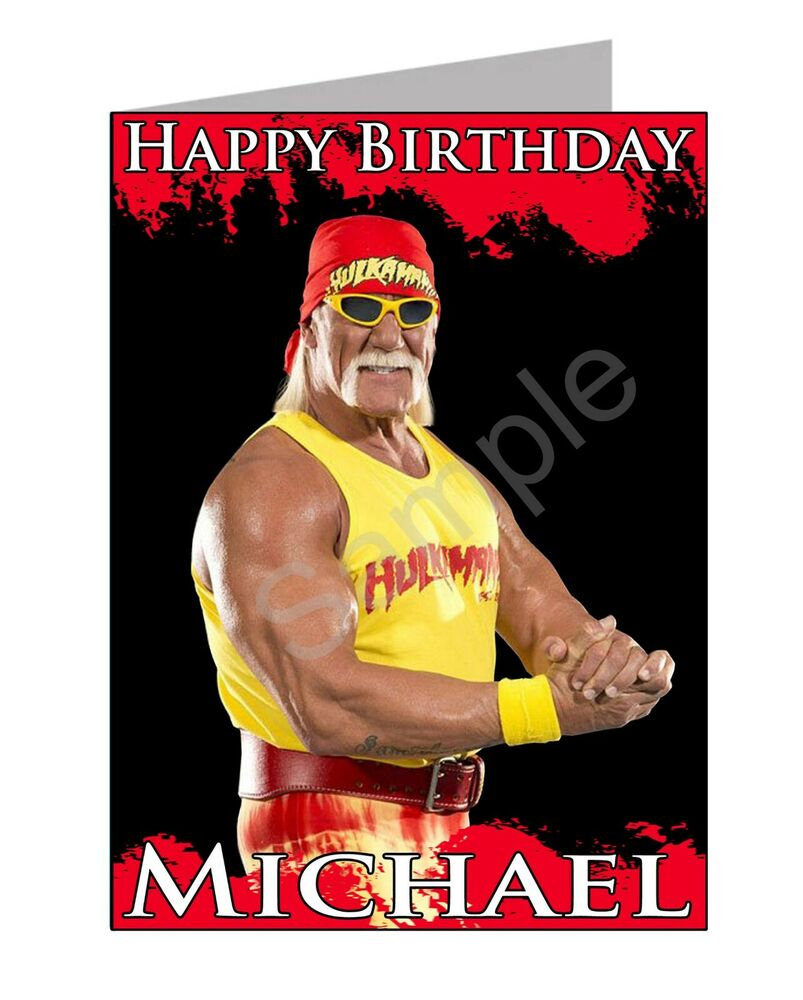 hulk hogan birthday card personalised  pgsgc  free uk, Birthday card