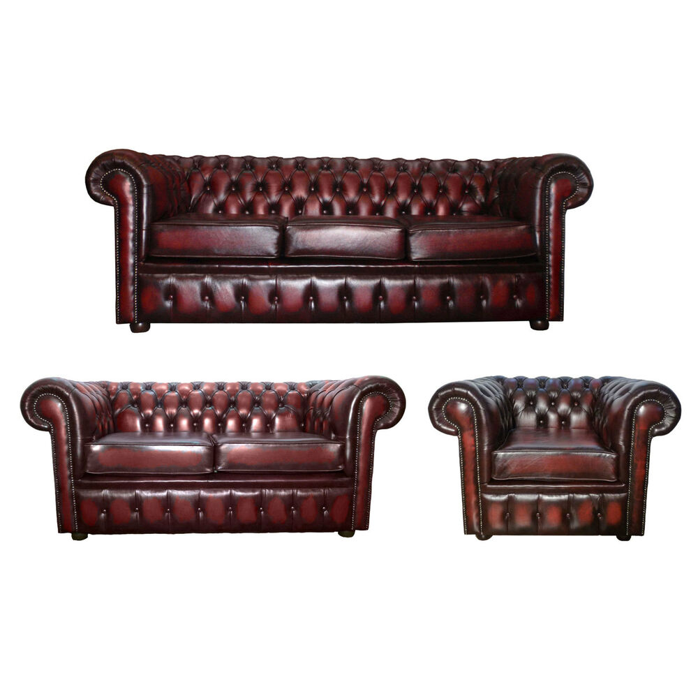 Chesterfield Antique Oxblood Red Genuine Leather Sofa And