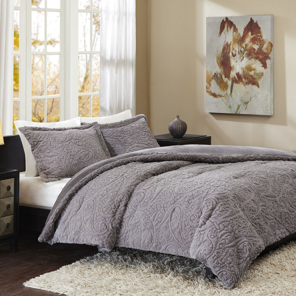 Soft Plush Faux Fur Mink Grey Ivory Paisley Comforter 3 Pc