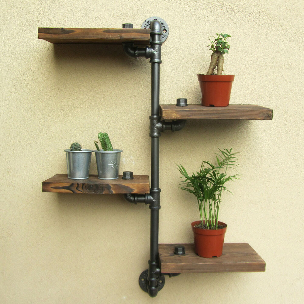 urban industrial rustic wall mount iron pipe 4 tiers wood shelf shelving storage ebay. Black Bedroom Furniture Sets. Home Design Ideas