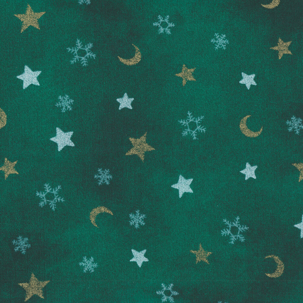 Green metallic gold star moon snowflake cotton quilt for Moon print fabric