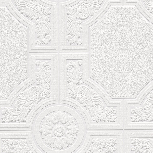 Neo classic ceiling tile raised white textured paintable - Textured wallpaper on ceiling ...