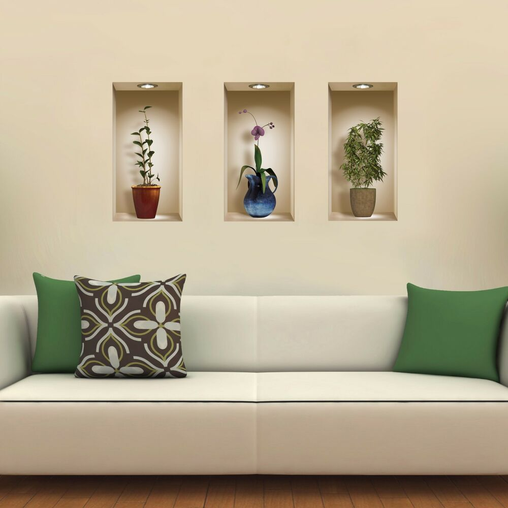 Set 3 art wall stickers magic 3d picture vinyl removable for 3d wall decals