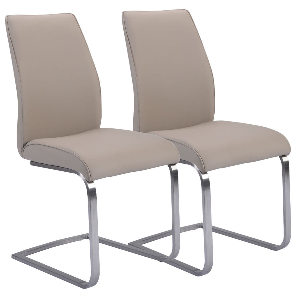 Dining Room High Chairs: 2 Pcs Dining Chairs High Back Gray PU Leather Furniture