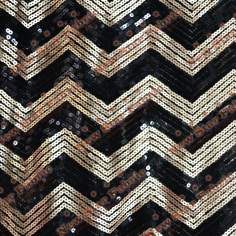 Chevron Zigzag Sequin Fabric 55 Quot Width By The Yard Black