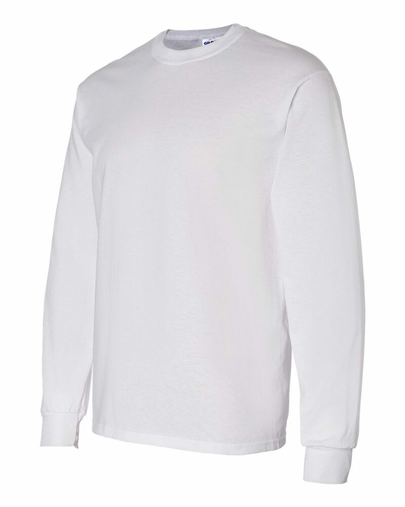 20 Gildan White Adult Long Sleeve T-Shirts Wholesale Bulk ...