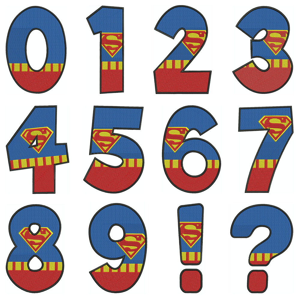 Superman numbers machine embroidery patterns