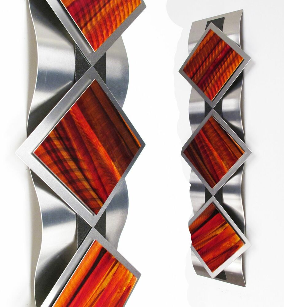 Wall Decorations Orange : Modern abstract metal wall art painting sculpture