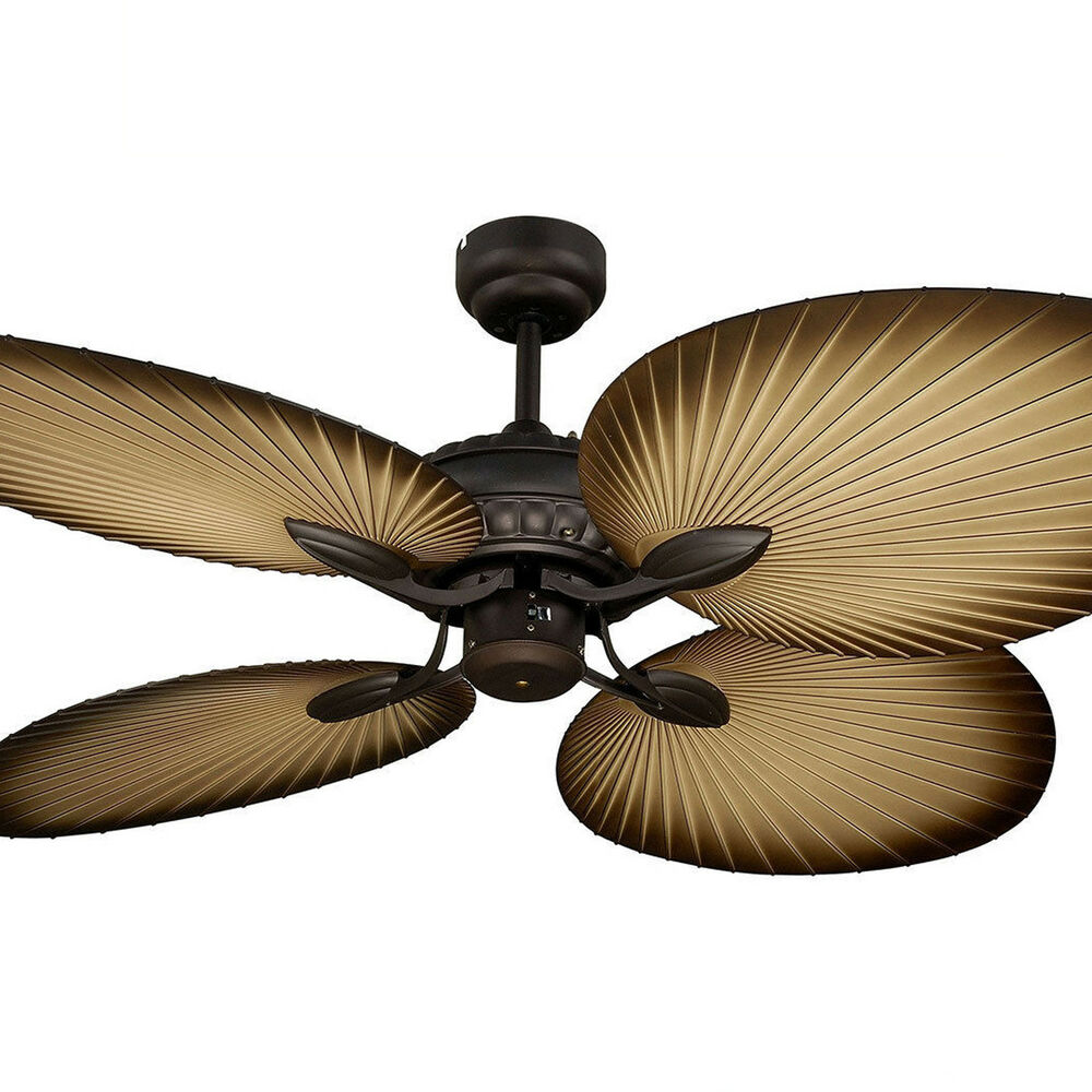 "NEW Martec Oasis 52"" Palm Leaf Tropical Ceiling Fan Old"