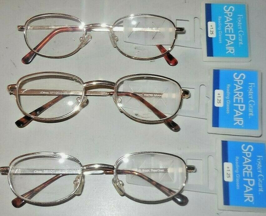 f7162a77c2 2 Pair Foster Grant Spare Pair Gold Oblong Frame Reading Glasses