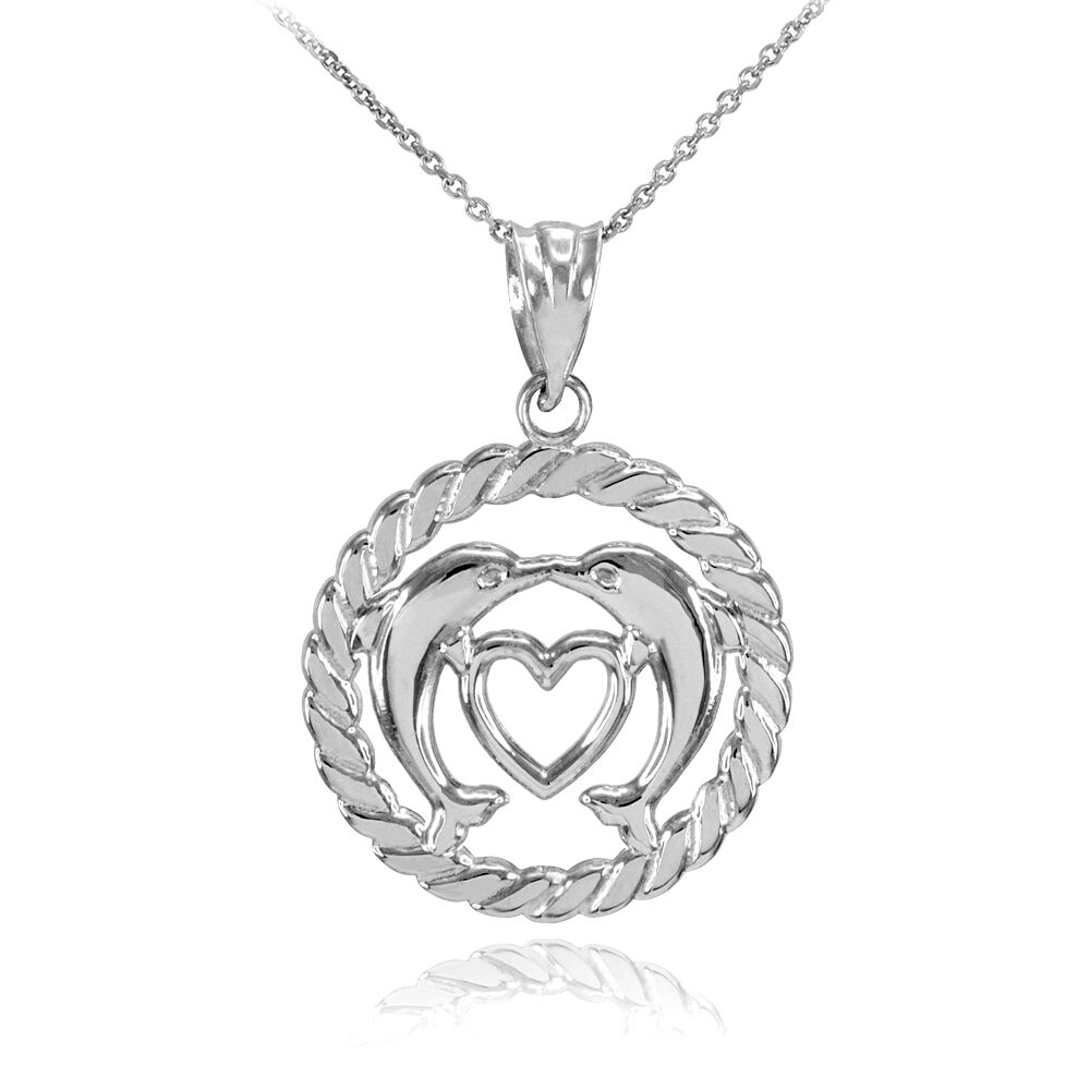 white gold heart kissing dolphins in circle rope pendant. Black Bedroom Furniture Sets. Home Design Ideas