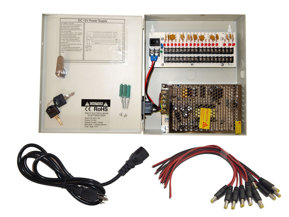 security camera wiring accessories 16 ch power supply cctv    camera    18 port 12v dc pigtail auto  16 ch power supply cctv    camera    18 port 12v dc pigtail auto