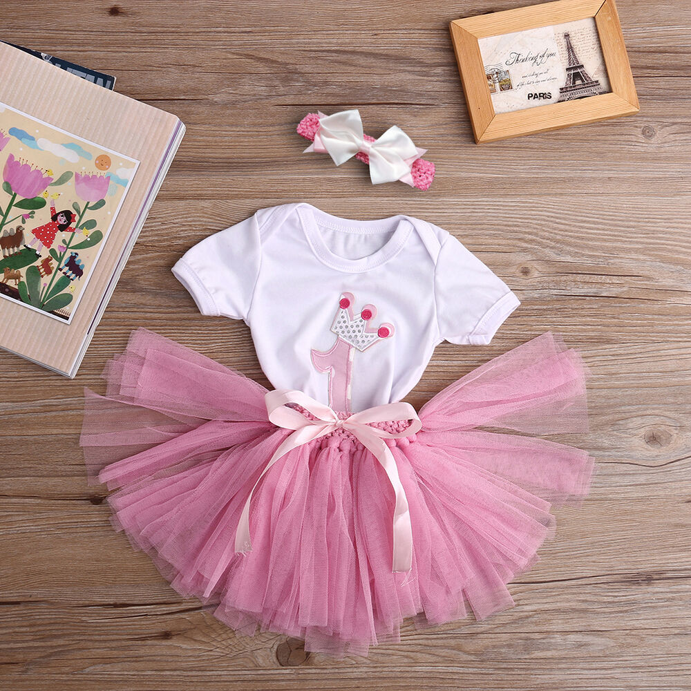 3PCS Baby Girls 1st Birthday Romper Headband Outfit Party