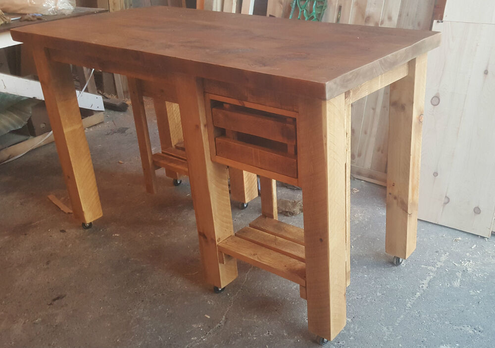 New Solid Wood Rustic Chunky Kitchen Island Wooden
