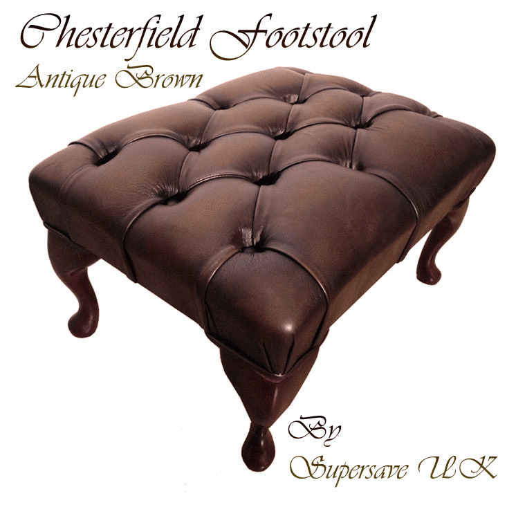 100 echtes leder chesterfield fu hocker antik braun handgefertig in uk hocker ebay. Black Bedroom Furniture Sets. Home Design Ideas